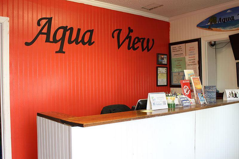 The front desk at Aqua View Motel in Panama City Beach.