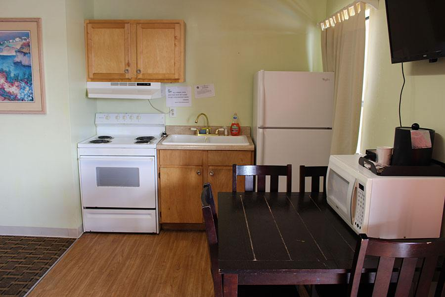 hotel room with kitchen