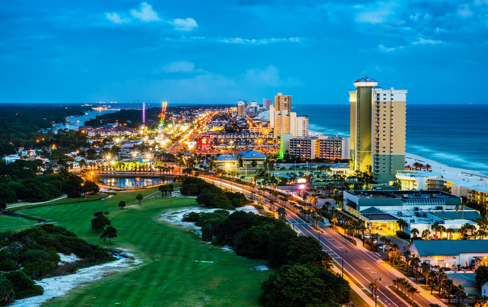 Panama City Beach at night.