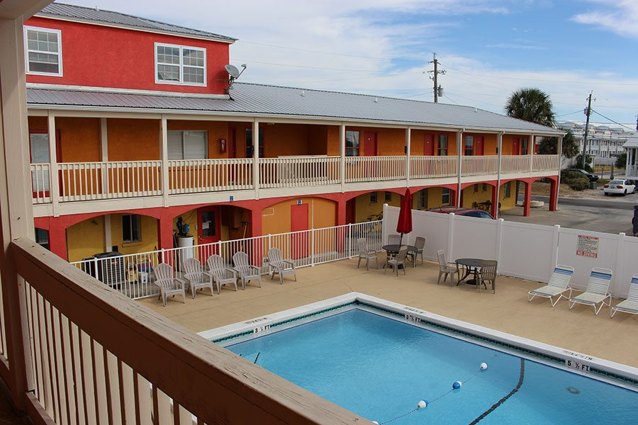 The beautiful pool at our Panama City Beach motel.